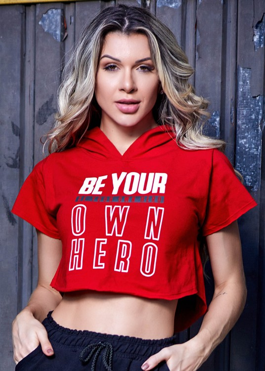 Cropped Moletim Be your Own Hero Vermelho com elastano