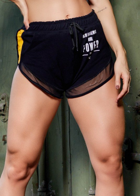 Short de Moletim Show Your Strenght Preto com Amarelo