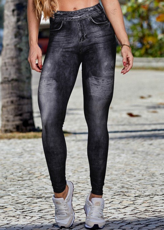 Calça Legging Fake Jeans Cool Black