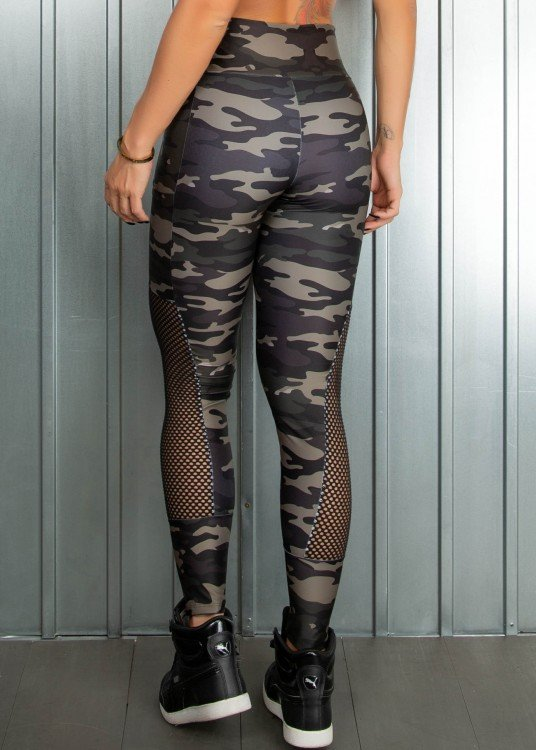 Legging Fitness Sublimada Army Com bolsos Laterais