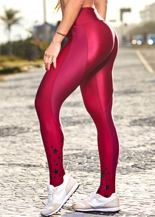 Legging Fitness Bordô Find Your Own Way em Poliamida Metalic e recorte Texturizado