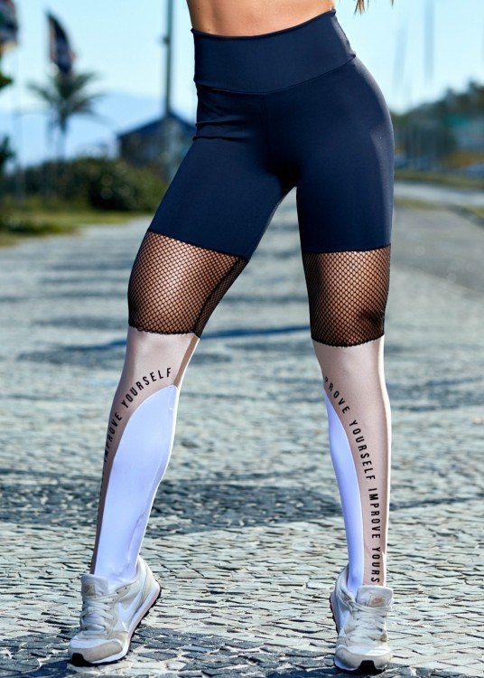 Legging em Suplex de Poliamida Improve Yourself Preto com Tela e Recorte Rosé
