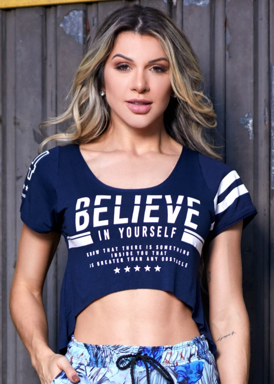 Cropped Fitness Mullet Believe Marinho