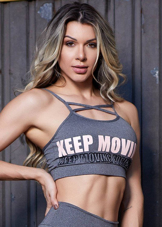 Top Fitness Keep Moving Mescla Com Estampa Emborrachada Rosé e Preto