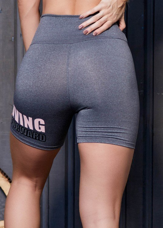 Short Fitness Keep Moving Mescla Com Estampa Emborrachada Rosé com Preto
